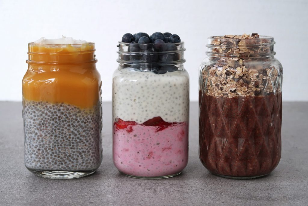 Mango Kokos Chia Pudding, Berry Yogurt Chia Pudding, Crunchy Chocolate Chia Pudding