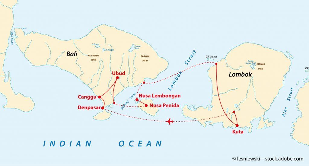 Karte Bali und Lombok mit Reiseroute