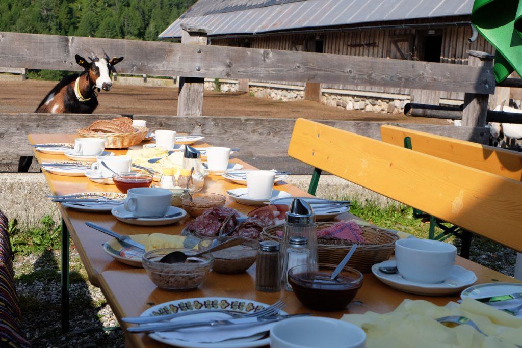 Frühstückstisch auf der Alm