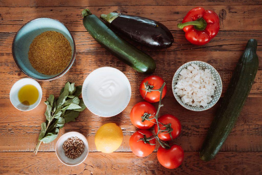 Zutaten für einen Bulgursalat